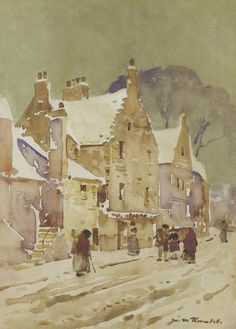 James Watterston Herald (British, A snowy Forfar street Day For Night, Very Lovely, Watercolor Art, Cities, Coastal, Homeschool, Arch, British, Artists