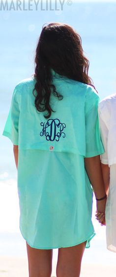 This Monogrammed Fishing Shirt makes the perfect summer cover up for the beach or pool! Only at Marleylilly.com!