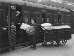 Rugs and pillows truck at Euston station, London 1925