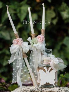 des. #LETIZIA    #Christening  Oil kit 5 pcs. (Bottle, #candles, scented soap) decorated with handmade flowers. #βαπτισηκοριτσιου #βαπτιστικά #vaptisi #λαδοσέτ  #christeningcandle http://www.catinthehat.gr/gia-koritsi/ladoset-koritsia/ladoset-letizia.html