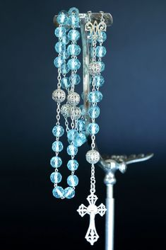 Faceted Crystal, Crystal Beads, Aqua, Turquoise, Art Nouveau, Holy Rosary, Rosaries, Silver Filigree, Jewelry Ideas