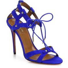 Aquazzura Bel Air Studded Suede Sandals (£540) ❤ liked on Polyvore featuring shoes, sandals, heels, apparel & accessories, royal blue, cross training shoes, ankle tie sandals, lace up sandals, famous footwear and ankle strap sandals