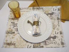 Placemats - Set of 4 - French Scripted Linen le Jardin - Brown Gray Grey Taupe Black