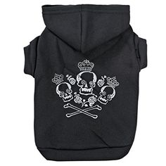 "Zack and Zoey Crowned Crossbone Hoodie for Dogs, 16"" Medium, Black -- You can get additional details at the image link."