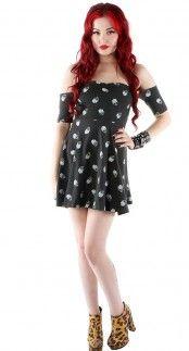 Iron Fist Skull A Dot Off the Shoulder Dress   Blame Betty