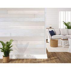 Stick On Wood Wall, Peel And Stick Wood, Peel And Stick Shiplap, White Wood Paneling, White Shiplap Wall, Vinyl Wall Panels, Wood Panel Walls, Ship Lap Walls, Reclaimed Barn Wood