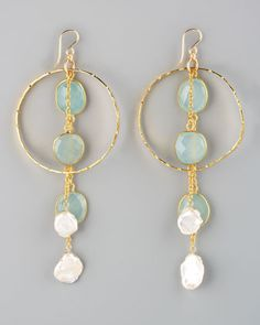 Devon Leigh Purple Pearl & Chalcedony Cluster Hoop Earrings - Neiman Marcus