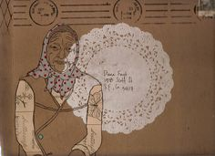 collage of drawing and doily as mail art by Diana Fayt