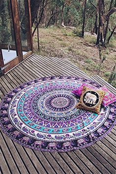 Boho Phuket Island Elephant Print Round 100% Cotton Thinking Hippie Mandala Tapestry Beach Throw Yoga Mat Wall Hanging DIY Decor Bedroom Table Couch Cover Beach Towel Diameter:150cm LC42092-22 * Check out the image by visiting the link.