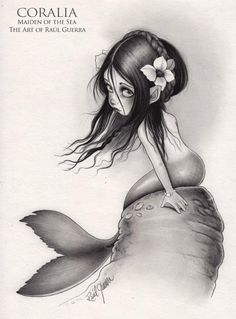 CORALIA - Maiden of the Sea -  Black pencils on paper 270grsm    Raul Guerra