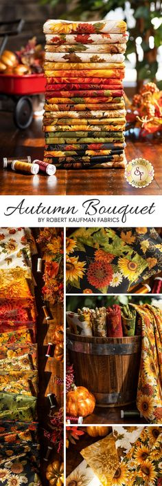 Autumn Bouquet by Hyun Joo Lee for Robert Kaufman Fabrics invites you into the cozy season with shimmering elegance. 🍂 100% Cotton Fabric with Metallic Accents. Shop the available yardage and precuts now at www.shabbyfabrics.com! Fall Bouquets, Robert Kaufman, Autumn Theme, Fabric Material, Fabric Design, Pumpkin, Table Decorations, Invites, Cotton Fabric
