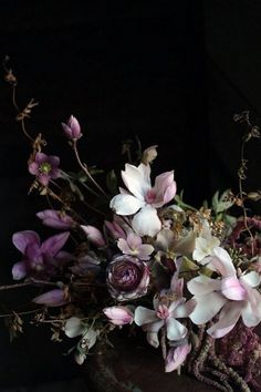 Flowers- Deep burgundy, whites, textures