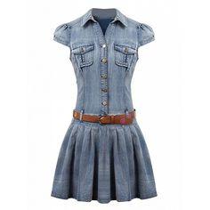 Choies Blue Shirt Collar Cap Sleeve Skater Denim Dress With Belt (150 RON) ❤ liked on Polyvore featuring dresses, blue, denim dress with belt, belt dress, blue dress, denim dress and belted dress