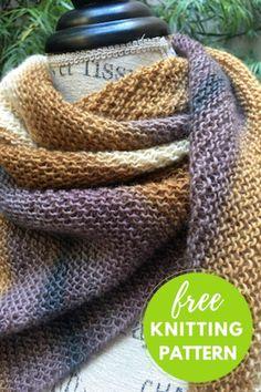 Nebushawl Free Knitting Pattern uses one skein of color changing yarn. Nebushawl Free Knitting Pattern uses one skein of color changing yarn. Knitting Blogs, Knitting For Beginners, Loom Knitting, Knitting Stitches, Free Knitting, Knitting Humor, Knitting Ideas, Free Knit Shawl Patterns, Scarf Patterns