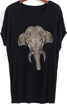Black Short Sleeve Elephant Print Loose T-Shirt 7.99