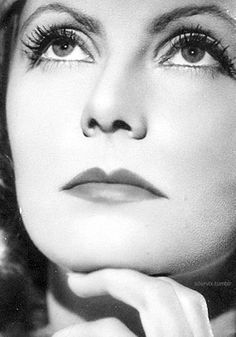 Greta Garbo, she looks deep in thought, with those beautiful eyes!