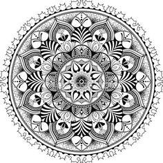 Mandala, zentangle inspiró ilustración blanco y negro — Vector de stock