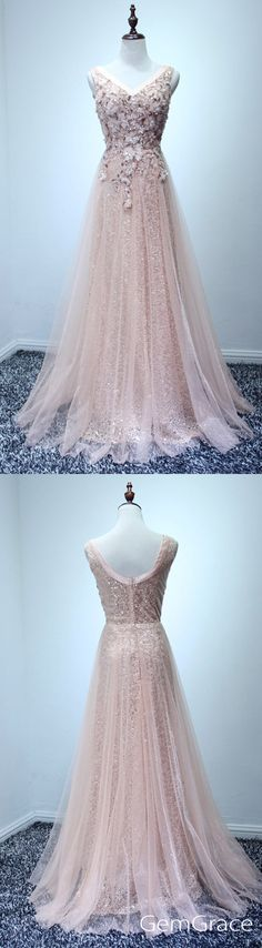 Beaded long tulle prom dress