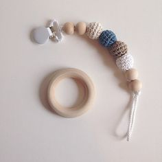 Crocheted Beads Pacifier Clip Eco-friendly pacifier by NomiLu