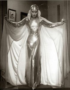 "Katharine Hepburn in 1933 film ""Christopher Strong"" wears a supreme shiny space suit/silver moth costume"