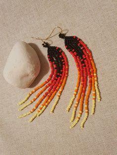 Mexican Earrings Tribal Earrings Indian Beaded Drop earrings Boho Mexican Jewelry Leaf Shape Earrings Dangle Red Drop Earrings Aztec Jewelry
