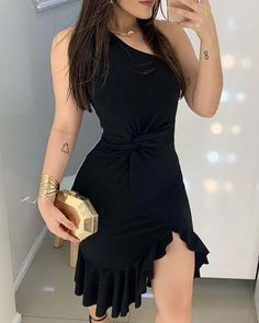 2020 Women Fashion Elegant Lady Dress Party Sweet Workwear Dress Casual One Shoulder Waist Twisted Ruffles Hem Dress Party Dresses For Women, Club Dresses, Casual Dresses, Short Dresses, Fashion Dresses, Teen Dresses, Baby Dresses, Club Outfits, Dresses Dresses