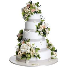 sophisticated flowered wedding cake by Sylvia Weinstock.