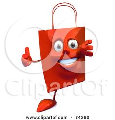 Royalty-Free (RF) Clipart Illustration of a 3d Red Shopping Bag Looking Around A Blank Sign And Holding A Thumb Up by Julos