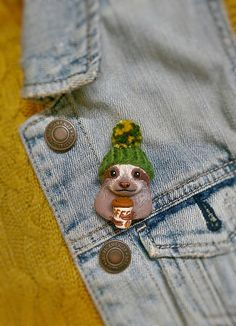SALE Hipster Sloth in a Beanie with a Coffee Cup Pin OOAK