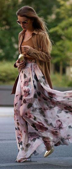 Maffashion Retro Floral Maxi Skirt Street New Romantic Outfit Idea