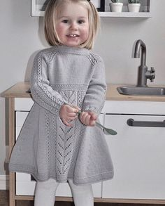 Soria Moria Kjole pattern by Wenche Steffensen – Knitting patterns, knitting designs, knitting for beginners. Baby Cardigan Knitting Pattern Free, Kids Knitting Patterns, Knitting For Kids, Baby Patterns, Knitting Baby Girl, Girls Knitted Dress, Knit Baby Dress, Knitted Baby Clothes, Baby Pullover