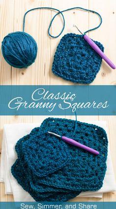 Classic Granny Squares Tutorial   SewSimmerAndShare.com #crochet