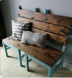 repurposed furniture Two old chairs converted into a bench for extra dining room seating when needed! Refurbished Furniture, Repurposed Furniture, Pallet Furniture, Furniture Projects, Furniture Makeover, Home Projects, Painted Furniture, Repurposed Items, Pallet Bench