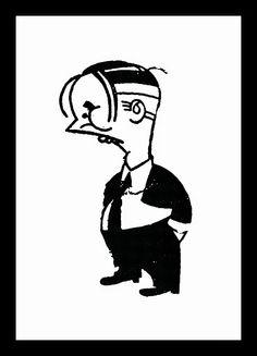 Noel Rosa caricatura de Nássara (Rio de Janeiro, 11 de novembro de 1910 — Rio de Janeiro, 11 de dezembro de 1996)  http://sergiozeiger.tumblr.com/post/102374129868/antonio-gabriel-nassara-mais-conhecido-como  As charges e caricaturas de Nássara se caracterizam pelas linhas econômicas e formas geometrizadas, em que tudo é redutível a esferas, cones, ovóides combinados entre si.