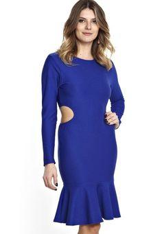 Vestido Manola vazado na lateral azul bic - Marca Manola