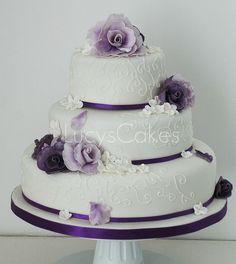 purple wedding cakes | Purple rose wedding cake | Flickr - Photo Sharing!