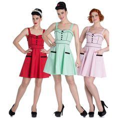 Hell Bunny 50's Vanity Polka Dot Summer Mini Dress 3 Colours