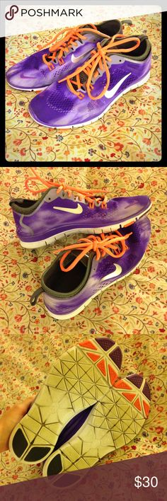 EUC Nike Free 5.0 sz. 8 Purple and orange Nike Free 5.0 tennis shoes in women's size 8. As you can tell by the photos, they're in awesome shape. They look almost new. I only wore them maybe a handful of times, I just have too many pairs! The soles show what little wear (dirt) there is, but the uppers and the rubber that shows is all spotless. Will trade for LuLaRoe! Nike Shoes Sneakers