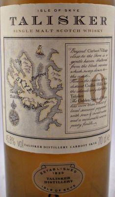 Talisker Single Malt Whisky Map bottle - Rare Whisky - Collectors Whisky - Talisker Scotch Whisky 10 year old Map bottle 45.8% 70cl - The Specialist Whisky Shop - Whisky, Single Malt, Vintage, Scotch, World, American Whiskey, Liqueurs   whiskys.co.uk