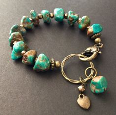 Bronze & Turquoise Nugget Bracelet by ReinaRiosDesigns on Etsy