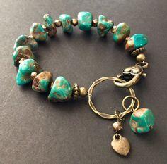 Bronze & Turquoise Nugget Bracelet by ReinaRiosDesigns on Etsy