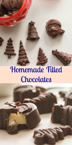 Homemade Filled Chocolates, a delicious dark chocolate homemade candy recipe with a creamy chocolate filling, perfect for chocolate molds. A yummy treat. Chocolate Bonbon, Chocolate Candy Recipes, Chocolate Filling, Chocolate Molds, How To Make Chocolate, Chocolate Chip Cookies, Chocolate Making, Chocolate Candies, Chocolate Roulade