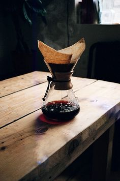 The beautiful chemex glass coffeemaker. Good design lasts.