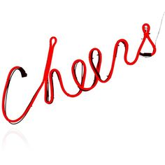 "Gerson Company 21"" Led Neon Cheers Sign ($65) ❤ liked on Polyvore featuring home, home decor, wall art, red, red wall art, neon wall art, red home decor, neon signs and red home accessories"