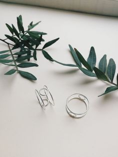 Modern minimalist silver rings. Delicate stacking ring. Jewellery styling. #plants #silverjewelry #stackingrings