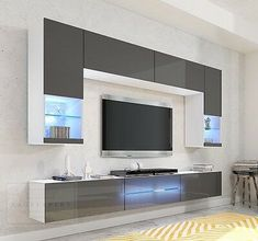 Wohnwand Milano Grau Hochglanz LED Beleuchtung Edge Galaxy Mirage Orion Project … – Anime pictures to hairstyles Living Room Tv Unit Designs, Living Room Wall Units, Living Room Decor, Tv Unit Decor, Tv Wall Decor, Tv Cabinet Design, Tv Wall Design, Tv Wanddekor, Tv Wall Cabinets