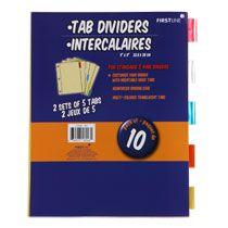 Bulk Firstline Color Tab Index Dividers, 10-ct. Packs at DollarTree.com
