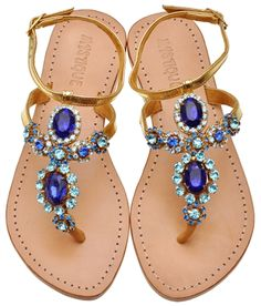 Jeweled Sandals & Embellished Sandals by Mystique | Blue Jeweled Sandals & Blue Stone Sandals - careful, they can snag the underside of a full dress