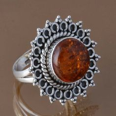EXCLUSIVE 925 STERLING SILVER SYNTHTIC AMBER RING 5.97g DJR8363 SZ-6.75 #Handmade #Ring