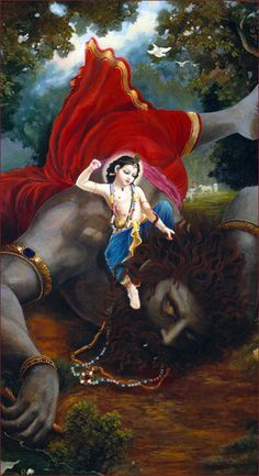 Once while they were engaged in their transcendental pastimes, a great demon of the name Pralambāsura entered their company, desiring to kidnap both Balarāma and Kṛṣṇa. The Supreme Personality of Godhead, Kṛṣṇa, being defeated, had to carry Śrīdāmā on His back, and Bhadrasena carried Vṛṣabha. Imitating their play, Pralambāsura, who appeared there as a cowherd boy, carried Balarāma on his back. Pralambāsura was the greatest of the demons.